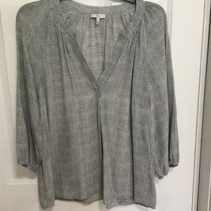 Gray and white silk blouse